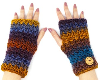 Colorful chunky fingerless gloves, crocheted