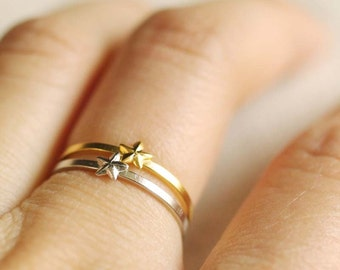 tiny star ring . star stacking ring . silver star ring . gold star ring . little star ring . stackable star ring . simple star ring