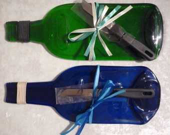 Upcycled wine bottle cheese board, chopping board,