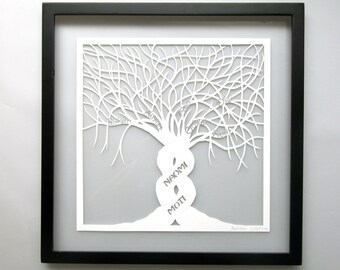 Two TREES Of LIFE As One WHITE  Silhouette Papercut 60th B Day Gift Home Décor Wall Art Original Handmade Custom Order Framed Signed OOaK
