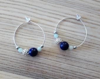 "Hoop earrings ""Mizu"" - lapis lazuli and amazonite [Silver]"