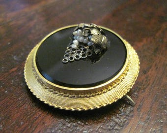 Antique 14K Victorian Etruscan Revival Grape Cluster Pin - Natural Seed Pearls - C1870s
