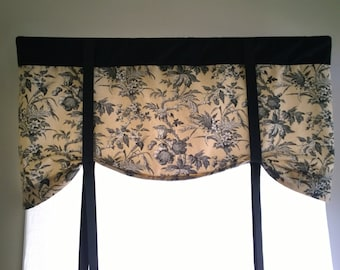 Tie up Window valance, floral tie up curtain,  elegant and classy tie up black  and taupe valance, floral valance, elegant tie up valance