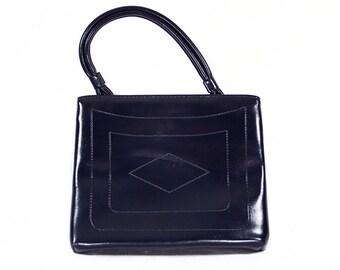 7 DOLLAR SALE---Vintage 60's Navy Blue Vinyl Handbag Geometric Design