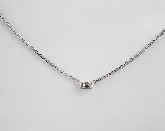 Delicate Diamond Baguette .10 ct Sterling Silver Necklace