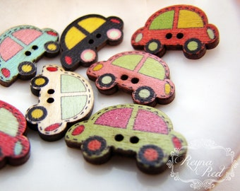 Cute Car Printed 2-Hole Wooden Buttons, mixed color cars, buttons, wood buttons, car buttons, beep beep buttons, sewing - reynaredsupplies