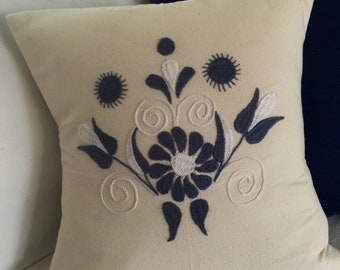 Hand Embroidered Decorative Pillow