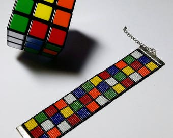 Wide Bracelet Rubik's multicolored - Miyuki glass beads