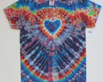 Small Mens 100 percent Cotton Tie Dyed Heart T-Shirt #102