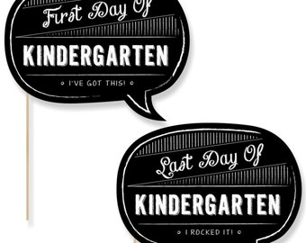 Kindergarten First Day & Last Day of School Photo Props Kit - Kindergarten Photo Booth - Back to School Photo Prop - 2 Talk Bubbles