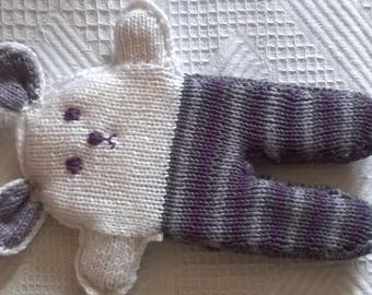 knit purple and white hare