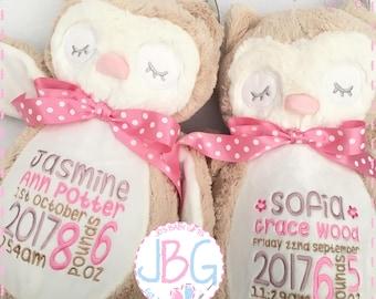 Personalised Owl Teddy Bear, Embroidered birthday Gift, Boy or Girl Custom bear, Christening Teddy, 1st birthday, embroidered bears