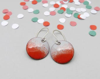 Small Gray and Red Dangle Earrings with Sterling Silver Earwires - Enamel Jewelry - Birthday Gift for Girlfriend