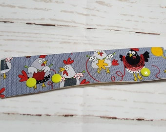 "Knitting Chickens Long Needle Cozy - project holder 9""x2"" - (Hold up to 9"" Needles), DPN holder  NCL0059"