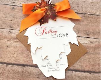 Falling in Love Wedding Invitation Set, Fall Wedding Invitation, Autumn Wedding Invitation, Leaf Wedding Invite, Rustic Wedding Invitation