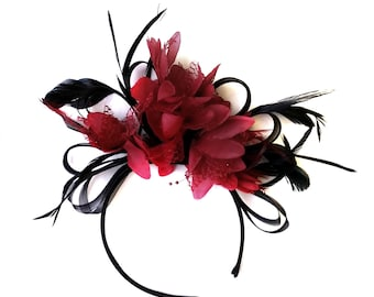Black and Burgundy Dark Wine Red Fascinator on Headband  Alice Band Wedding Ascot Races  Loop Net