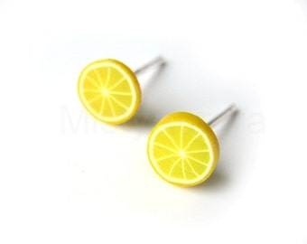 Lemon Stud Earrings,Tiny Earrings,Fruit Earring Posts,Yellow Earrings,Novelty Jewelry,Polymer Clay Jewelry (E133)