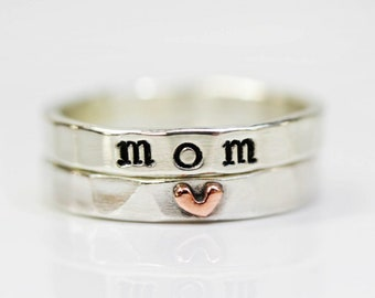 Gift For Mom / Customized Mom Heart Ring / Gift From Us / Silver Stacking Rings / Sterling / Mom Birthday / Gift for Her / Handmade Sterling