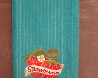 Strawberries - Embroidered Microfiber Kitchen Towel, Shown on Blue
