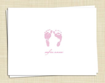 10 Personalized Baby Thank You Cards - Girl Boy Gender Neutral - Baby Feet - PRINTED