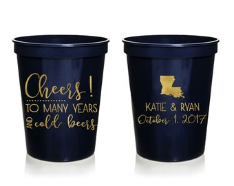 Cheers to Many Years and Cold Beers Wedding Stadium Cups, Personalized Wedding Cups, Rehersal Dinner, Stadium Cup, Wedding Favor
