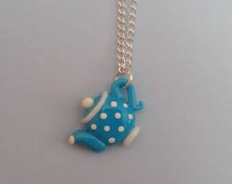 Blue teapot necklace