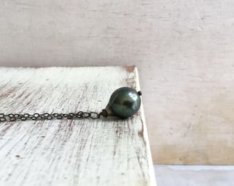 Tahitian Pearl Necklace - Dark Green Pearl Necklace - Black Tourmaline Necklace- June Birthstone Necklace -Oxidized Sterling Silver Necklace