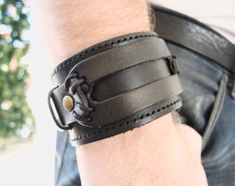 Wide genuine leather bracelet