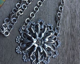 Necklaces large  Vintage Burst collection with antiqued silver chain
