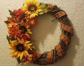 Sunflowers and Ribbon - Grapevine Wreath - Handmade - Multi-Color