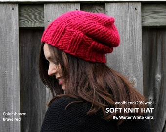 SLOUCHY KNIT HAT, Red Knit Hat, Chunky knitted beanie hat, Slouchy Knit Beanie,Hand-knit winter hat, knit wool beanie hat, winter beanie hat