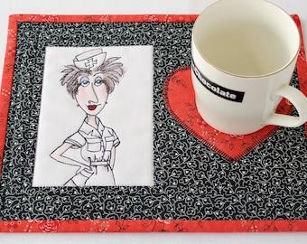 Quilted Mug Rug, Black Red Snack Mat, Nurse, Hearts, Medical Mug Mat, Quiltsy Handmade