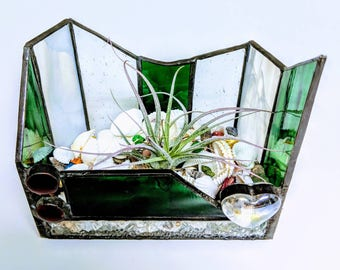 Abstract Designed Stained Glass Air Plant Vessel using the copper foil and solder method. Free Shipping in the United States.