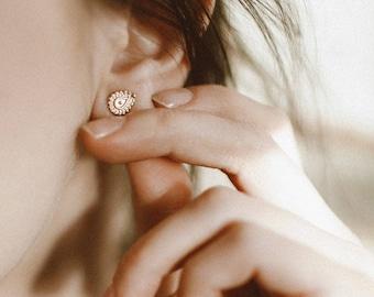 Gold Earrings, Stud Earrings, Yellow Gold Studs, Gold 14K Posts, Tribal Stud Earrings, Indian Earrings, Small Earrings, Gold Stud Earrings