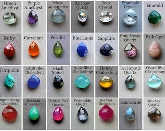 Birthstone Charm, Birthstone Pendant, Wire Wrapped Gemstone, 14k gold fill, Faceted Gemstone, Custom Birthstone, Add on Charm, Briolette