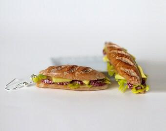 Sandwich Earrings -  Sandwich Jewelry - Food Earrings - Miniature Food Jewelry - Kawaii Jewelry