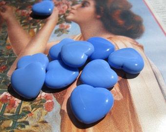 Czech Heart Beads Opaque Blue Glass 18x20mm