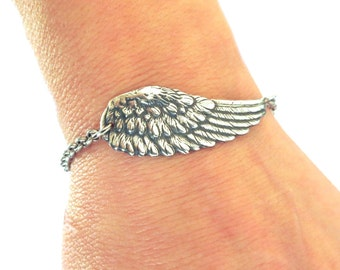 Angel Wing Bracelet, Angel Wing Anklet, Sterling Silver Ox Finish or Antiqued Brass Ox Finish- Medium Wing