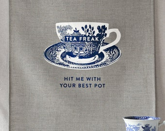 tea freak linen tea towel