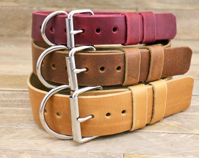 Dog collar, Extra large width dog collar, FREE ID TAG, Handmade leather collar, , Collar, Silver hardware, Classic collar, Luxury collar.