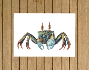 """Horned Ghost Crab, Crab, Colourful Crab, Giclée Print, Watercolor Illustration, Home Decor, Kids Room, A5, 8.5""""x11"""", A4, A3, 13""""x19"""