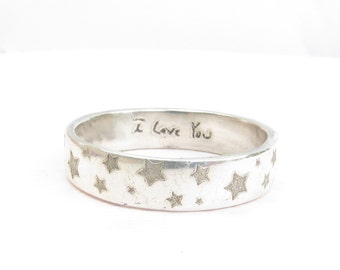 Custom Handwriting Jewelry  -  Patterned Wedding Ring-  Posey Ring  - Engraved Ring - Personalized Jewelry