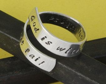 Psaume 46:5 anneau - Dieu est au milieu d'elle, elle ne manquera pas de taille de bague - bague réglable - Twist - Wrap bague - bague sur mesure - taille 7 - 8