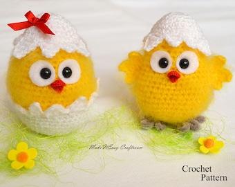 Easter chicken crochet pattern Crochet chicken pattern Chick in eggshell Easter home decor Crochet baby chick and egg Easter ornament PDF