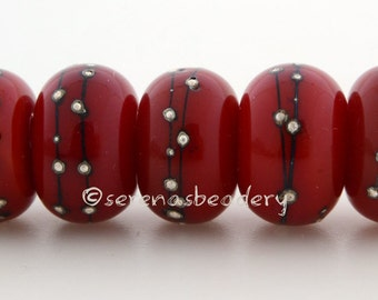 RED with Fine Silver Dots - Handmade Lampwork Glass Beads - taneres - 11, 12, or 13 mm