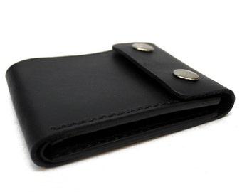 Leather chain wallet, leather biker wallet, leather snap wallet, mens leather wallet, leather bifold, black leather billfold,