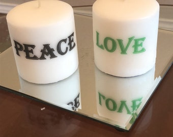 Pillar candles wit words