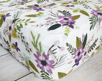 Purple Floral Fitted Crib Sheet