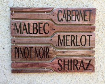 Wine Bottle Wood Signs, Merlot, Cabernet, Malbec, Pinot Noir, Shiraz, Red Wine Sign, White Wine Sign