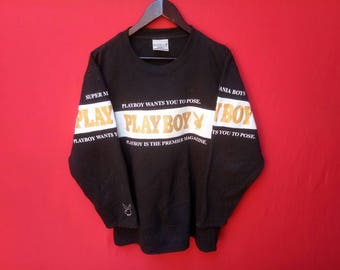vintage playboy boy sweatshirt big logo large men size